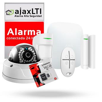 KIT COMPLETO de SISTEMA de ALARMA AJAX con CÁMARA (HUB + MOTIONPROTECT + DOORPROTECT + SPACECONTROL + CAMARA SAFIRE VINOLY + TARJETA MicroSD 128GB + CARTEL)