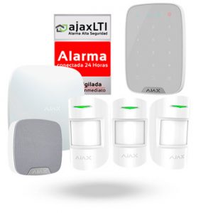 KIT AJAX con TECLADO y SIRENA (HUB + 3x MOTIONPROTECT + HOMESIREN + KEYPAD + CARTEL)
