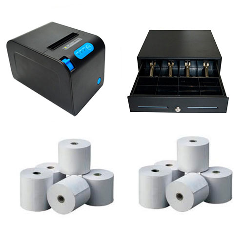 Pack TPV (Impresora de tickets VivaPOS P83, cajón portamonedas, papel térmico)